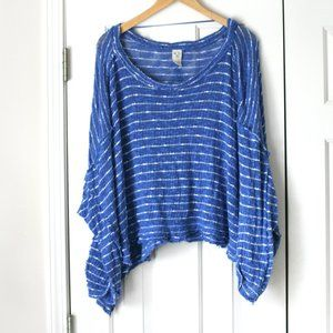 We The Free white blue striped distressed sweater